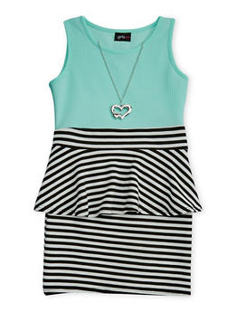 Girls 7-16 Sleeveless Striped Peplum Dress with Heart Necklace - 1615051060096