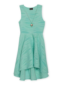 Girls 7-16 Wavy Textured Knit Dress with Necklace - 1615051060097