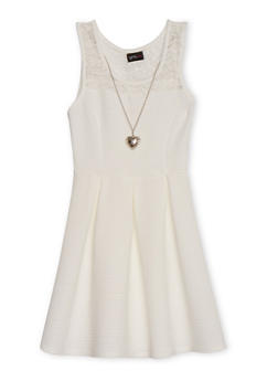 Girls 7-16 Sleeveless Pleated Dress with Heart Necklace - 1615051060100