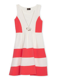 Girls 7-16 Color Block Textured Knit Dress with Necklace - 1615051060101