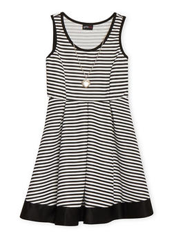 Girls 7-16 Striped Sleeveless Skater Dress with Necklace - 1615051060103