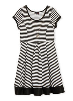 Girls 7-16 Short Sleeve Striped Skater Dress with Necklace - 1615051060104