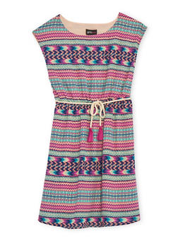 Girls 7-16 Printed Shift Dress with Rope Belt - 1615051060105