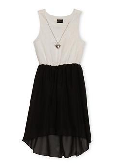 Girls 7-16 Sleeveless Stripe Dress with Hoodie - 1615051060106