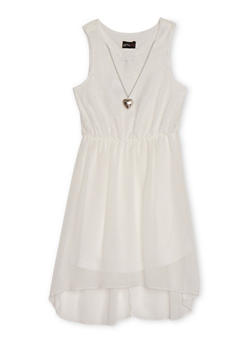 Girls 7-16 Sleeveless Lace Crepe Dress with Necklace - 1615051060106
