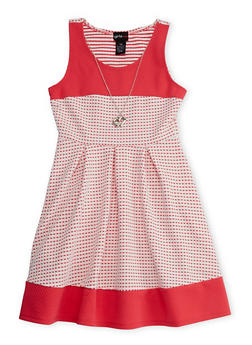 Girls 7-16 Sleeveless Checkered Dress with Necklace - 1615051060107