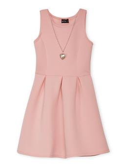 Girls 7-16 Soft Knit Skater Dress with Necklace - 1615051060108