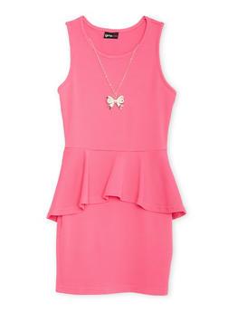 Girls 7-16 Textured Knit Ruffle Overlay Peplum Dress with Necklace - 1615051060109
