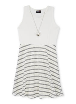 Girls 7-16 Textured Knit Shadow Stripe Skater Dress with Necklace - 1615051060111