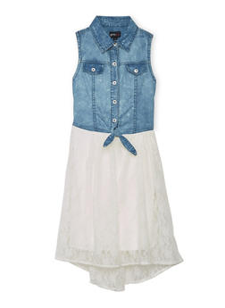 Girls 7-16 Button Up Denim and Lace Dress - 1615051060113