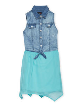 Girls 7-16 Sleeveless Denim Dress with Asymmetrical Skirt - 1615051060115
