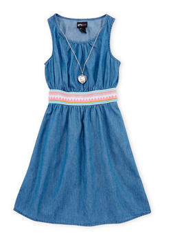 Girls 7-16 Embroidered Waist Denim Tank Dress with Necklace - 1615051060116