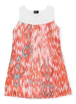 Girls 7-16 Printed Tank Dress with Crochet Yoke - 1615051060117
