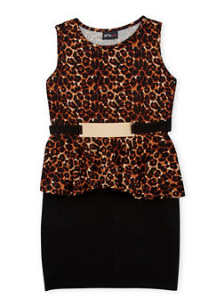 Girls 7-16 Sleeveless Leopard Print Peplum Dress with Metal Buckle Accent - 1615051060118