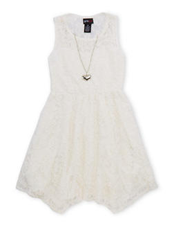 Girls 7-16 Lace Skater Dress with Necklace - 1615051060120
