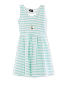 Girls 7-16 Textured Knit Striped Dress with Necklace - 1615051060123