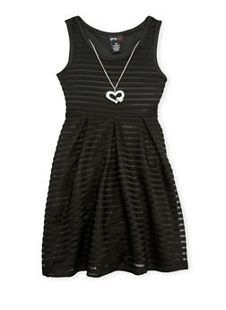 Girls 7-16 Sleeveless Shadow Strip Skater Dress with Necklace - 1615051060124