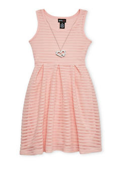 Girls 7-16 Sleeveless Shadow Stripe Skater Dress with Necklace - 1615051060124