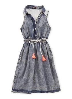 Girls 7-16 Front Button Denim Dress with Crochet Back Detail - 1615051060125