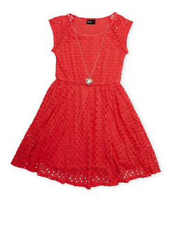 Girls 7-16 Sleeveless Crochet Knit Dress with Necklace - 1615051060126