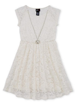 Girls 7-16 Lace Skater Dress with Necklace - 1615051060127