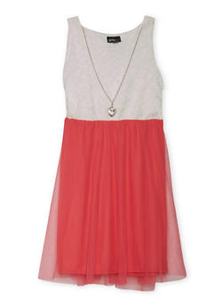 Girls 7-16 Sleeveless Lace Dress with Tulle Skirt and Necklace - 1615051060128