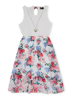 Girls 7-16 Floral Printed Tank Dress with Necklace - 1615051060131