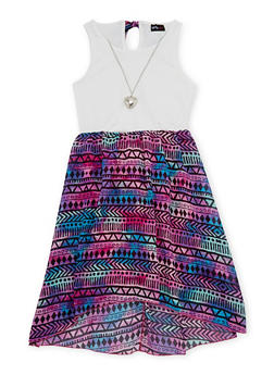 Girls 7-16 Floral Printed Tank Dress with Necklace - MULTI COLOR - 1615051060131