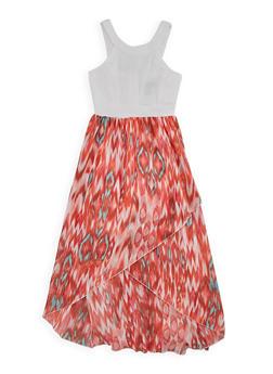 Girls 7-16 Ponte Knit Printed High Low Dress - CORAL - 1615051060132