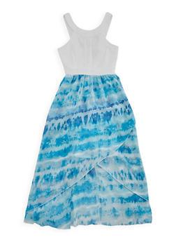 Girls 7-16 Ponte Knit Printed High Low Dress - BLUE - 1615051060132