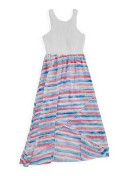 Girls 7-16 Ponte Knit Printed High Low Dress - MULTI COLOR - 1615051060132