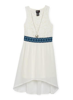 Girls 7-16 Half Lace High Low Dress with Necklace - IVORY - 1615051060134