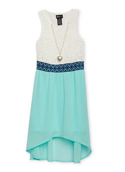 Girls 7-16 Half Lace High Low Dress with Necklace - AQUA - 1615051060134