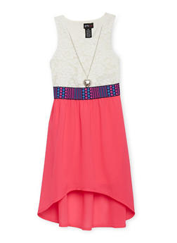 Girls 7-16 Half Lace High Low Dress with Necklace - FUCHSIA - 1615051060134