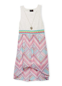 Girls 7-16 Crochet Printed High Low Dress with Necklace - FUCHSIA - 1615051060135