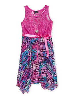 Girls 7-16 Lace Printed Sharkbite Dress with Necklace - PINK - 1615051060136