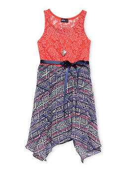Girls 7-16 Lace Printed Sharkbite Dress with Necklace - CORAL - 1615051060136