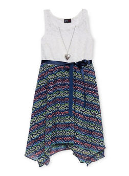 Girls 7-16 Lace Printed Sharkbite Dress with Necklace - MULTI COLOR - 1615051060136