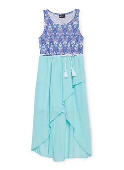 Girls 7-16 Sleeveless Printed Dress with Rope Belt - AQUA - 1615051060137