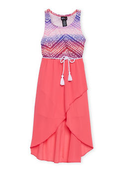 Girls 7-16 Sleeveless Printed Dress with Rope Belt - FUCHSIA - 1615051060137