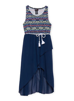 Girls 7-16 Sleeveless Printed Dress with Rope Belt - ROYAL - 1615051060137