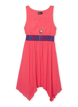 Girls 7-16 Embroidered Waist Skater Dress with Necklace - FUCHSIA - 1615051060138