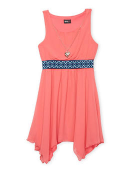 Girls 7-16 Embroidered Waist Skater Dress with Necklace - CORAL - 1615051060138