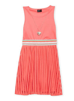 Girls 7-16 Mesh Embroidered Tank Dress with Necklace - 1615051060140