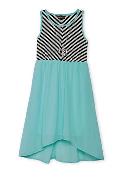 Girls 7-16 Striped Tank Dress with Necklace - 1615051060141