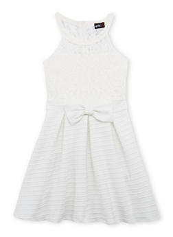 Girls 7-16 Lace Skater Dress with Pleated Skirt and Bow Detail - 1615051060142