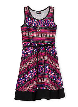 Girls 7-16 Multi Color Sleeveless Dress with Rope Tied Waist and Necklace - FUCHSIA - 1615051060143