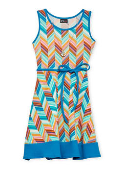 Girls 7-16 Multi Color Sleeveless Dress with Rope Tied Waist and Necklace - MULTI COLOR - 1615051060143
