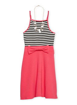 Girls 7-16 Textured Knit Striped Dress with Necklace - 1615051060144