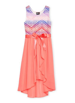 Girls 7-16 Printed High Low Dress with Bow Detail - FUCHSIA - 1615051060145